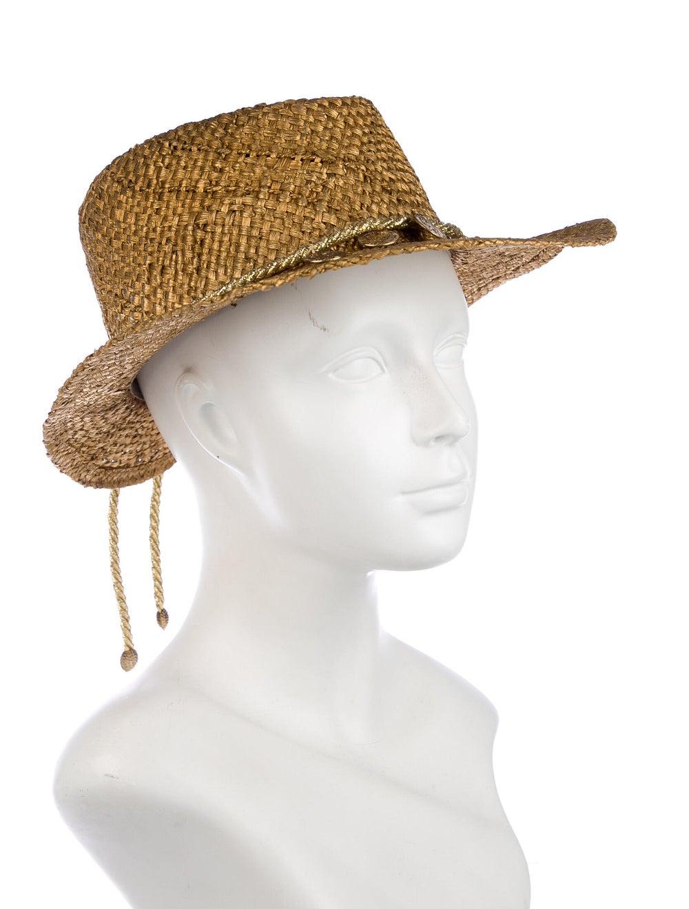 Neiman Marcus Straw Wide-Brim Hat Gold - image 3