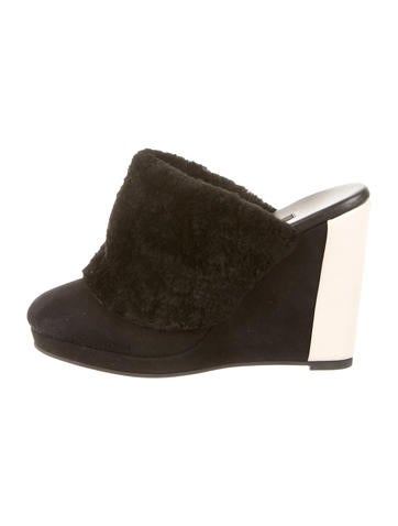 NewbarK Ursula Shearling Wedge Mules None