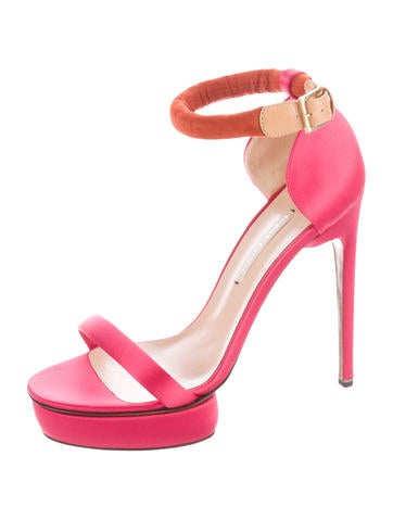 Satin Ankle Strap Sandals