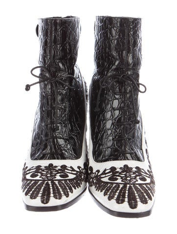 Embroidered Embossed Ankle Boots