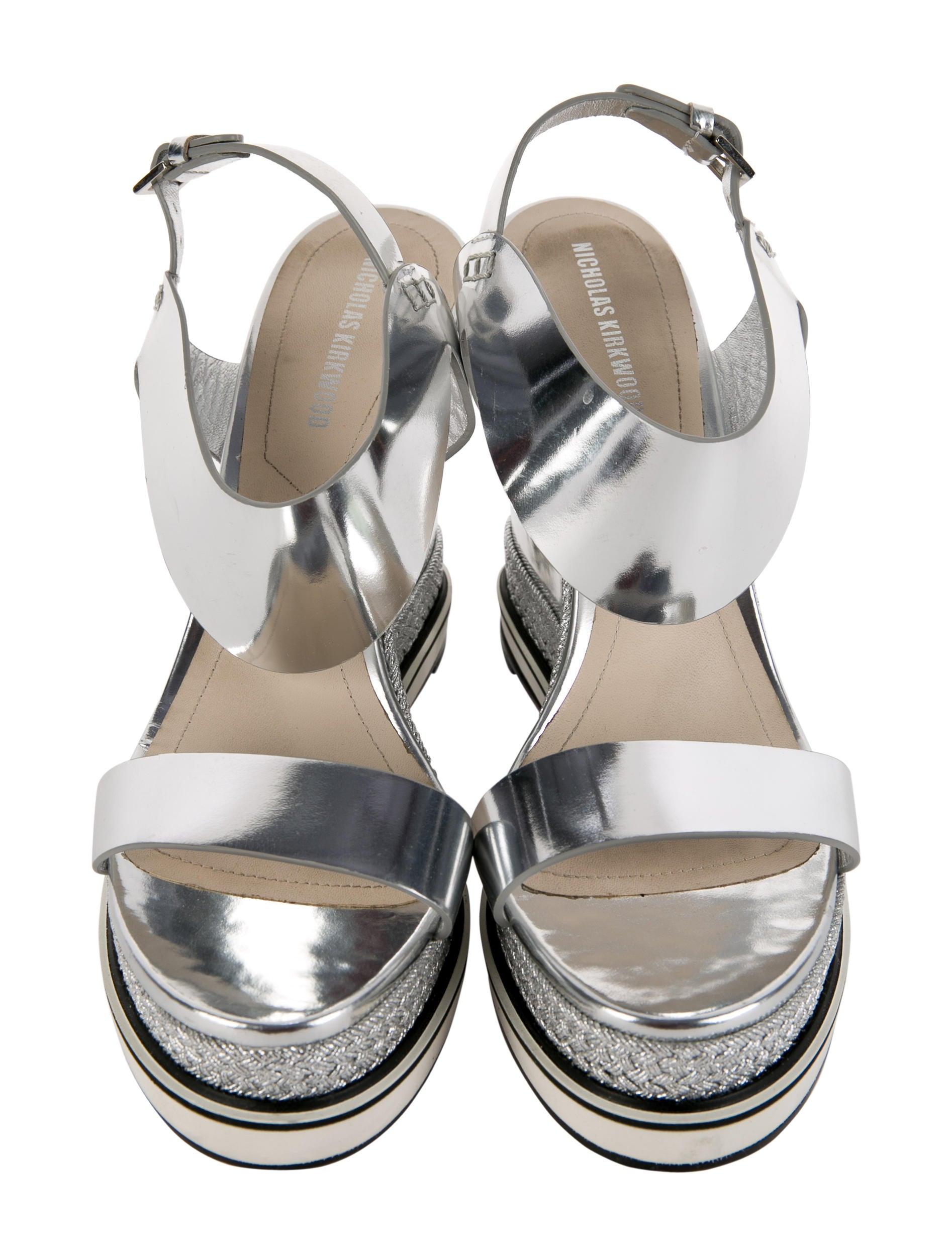 nicholas kirkwood metallic wedge sandals shoes