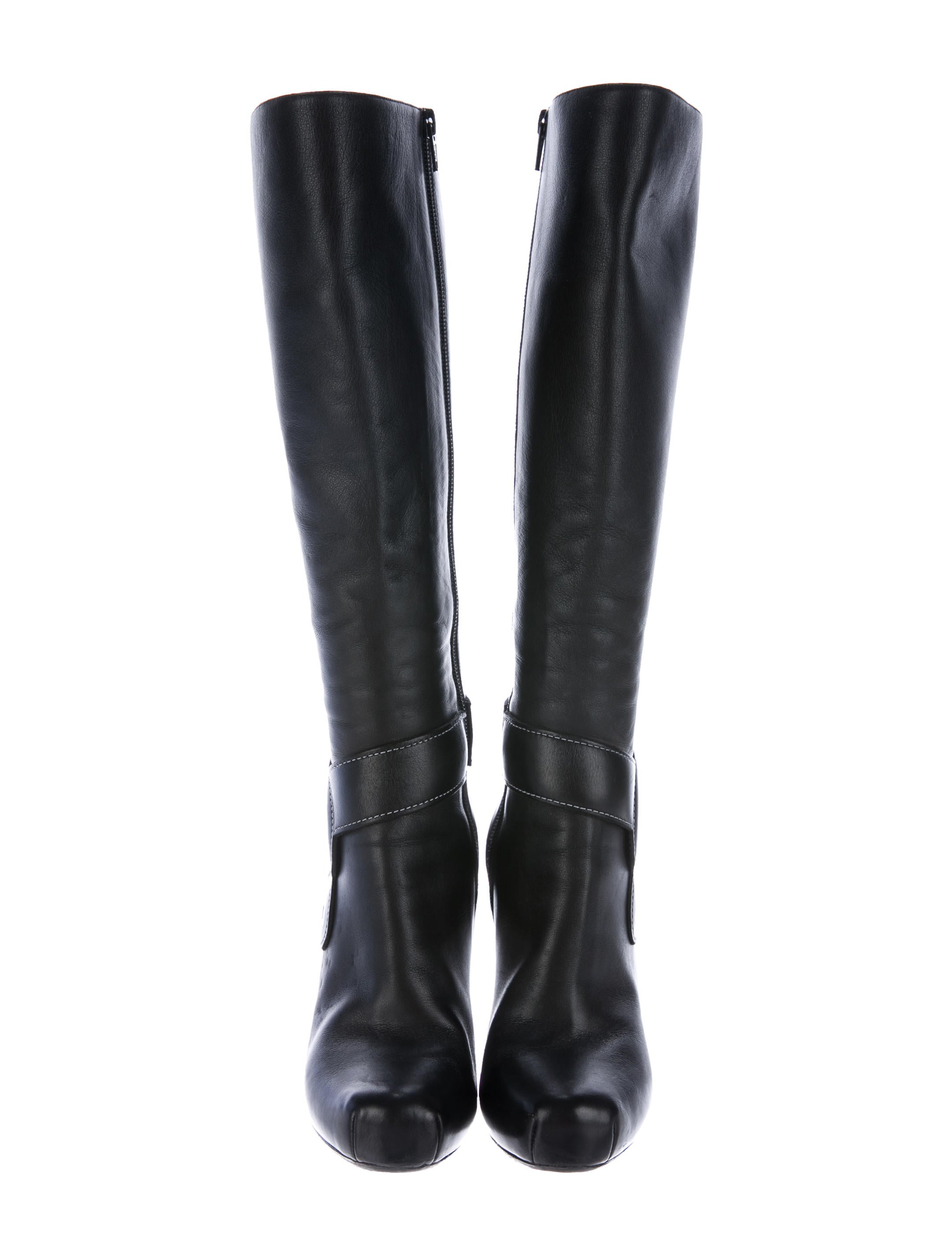 nicholas kirkwood leather buckle accented knee high boots