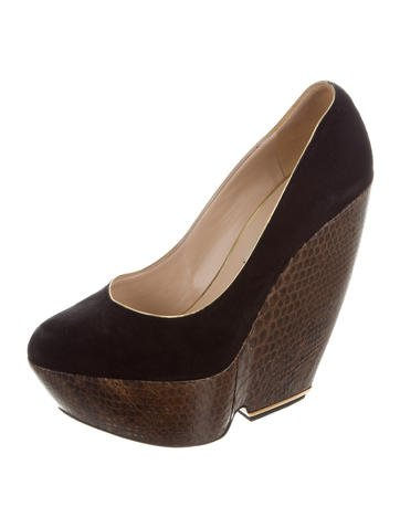 Nicholas Kirkwood Snakeskin-Accented Suede Wedges footaction Bj44H8zR