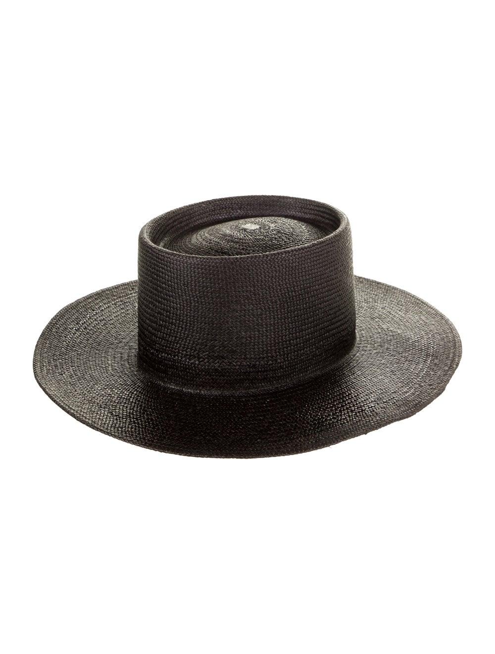 Nick Fouquet Straw Wide Brim Hat Black - image 2