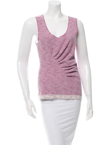 Nina Ricci Lace-Trimmed Tweed Top None