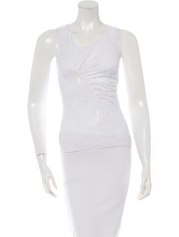 Nina Ricci Ruched Lace Top None