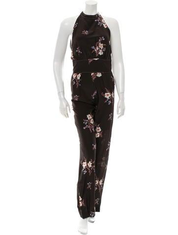 Nina Ricci Silk Floral Print Jumpsuit