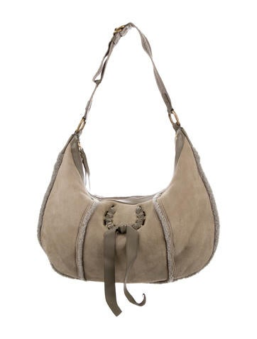 Nina Ricci Leather-Trimmed Shearling Hobo