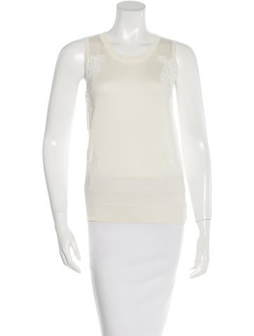 Nina Ricci Silk Lace-Accented Top None
