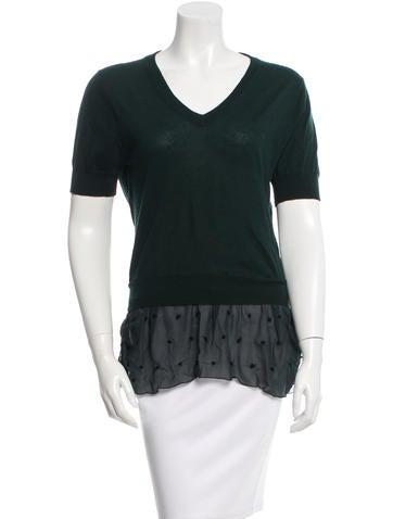 Nina Ricci Silk-Trimmed Cashmere Sweater None