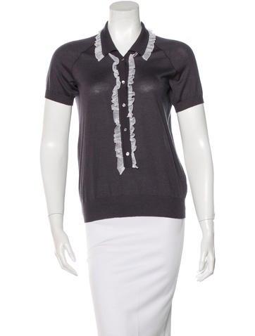 Nina Ricci Cashmere & Silk-Blend Ruffled Sweater None