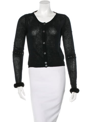 Nina Ricci Cashmere Fur-Trimmed Top None