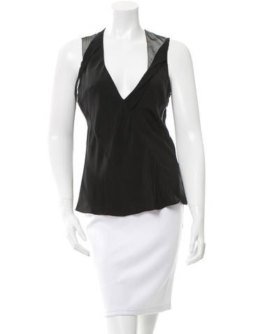 Nina Ricci V-Neck Sheer Yoke Top None