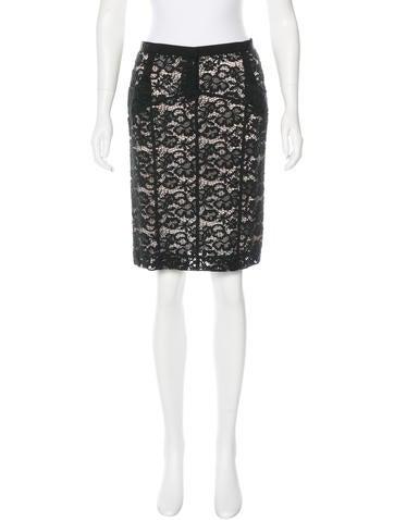 Nina Ricci Lace Pencil Skirt None