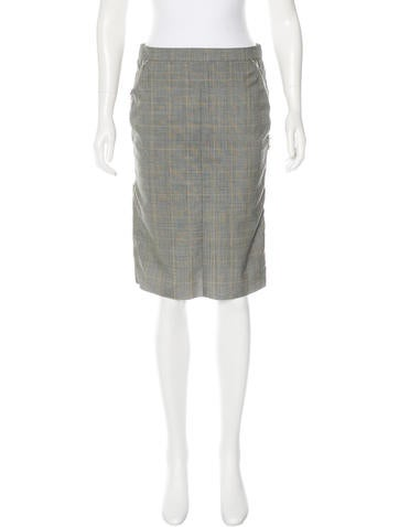 Nina Ricci Plaid Pencil Skirt None