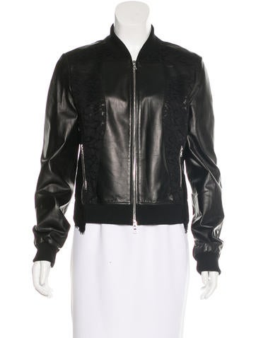 Nina Ricci Lace-Accented Leather Jacket None