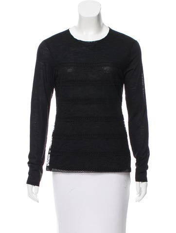 Nina Ricci Lace-Paneled Long Sleeve Top