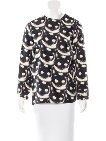 Nina Ricci Cat Print Silk Top w/ Tags None
