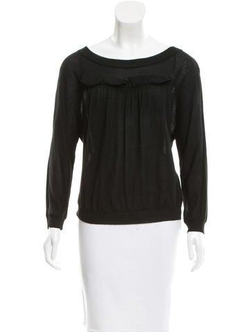 Nina Ricci Cashmere Ruffle-Trimmed Sweater None