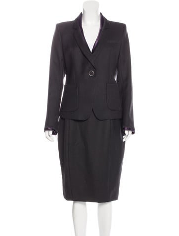 Nina Ricci Wool Embroidered Skirt Suit None