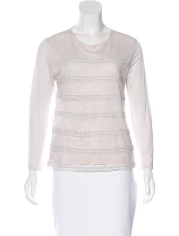 Nina Ricci Lace-Paneled Long Sleeve Top None