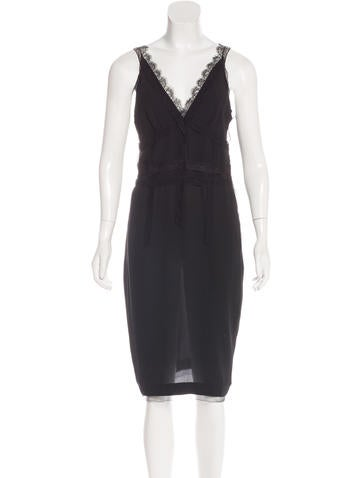 Nina Ricci Lace-Trimmed Silk Dress None