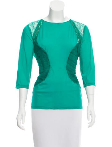 Nina Ricci Long Sleeve Lace-Accented Top None