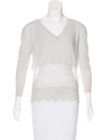 Nina Ricci Lace-Trimmed Cashmere Sweater None