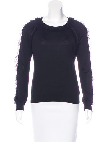 Nina Ricci Silk & Wool Fringe Sweater None