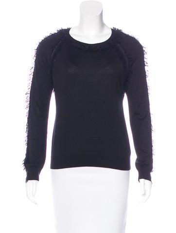 Nina Ricci Silk & Wool Fringe Sweater None