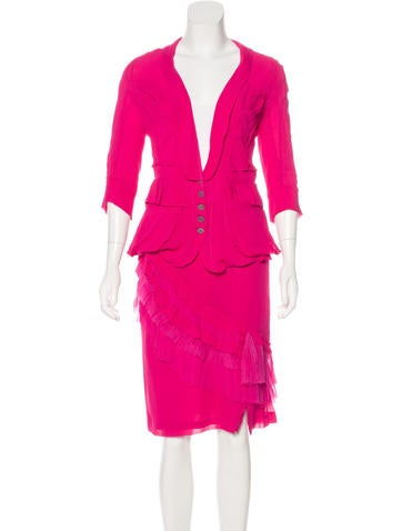 Nina Ricci Ruffle-Accented Skirt Suit None