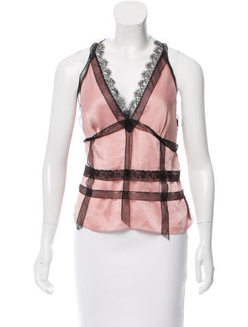 Nina Ricci Sleeveless Lace-Accented Top w/ Tags None