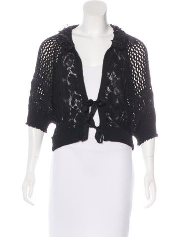 Nina Ricci Short Sleeve Open Knit Cardigan None