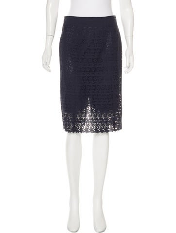 Nina Ricci Eyelet Pattern Pencil Skirt None