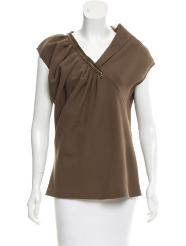 Nina Ricci Zipper-Accented Wool Top None