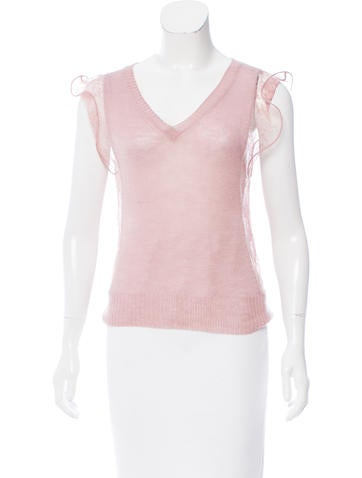 Nina Ricci Lace-Trimmed Cashmere Top None