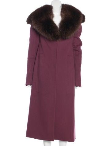 Nina Ricci Fox Fur-Accented Wool Coat None