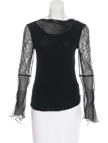 Nina Ricci Lace-Trimmed Long Sleeve Top None