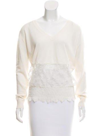 Nina Ricci Lace-Accented Cashmere Sweater None