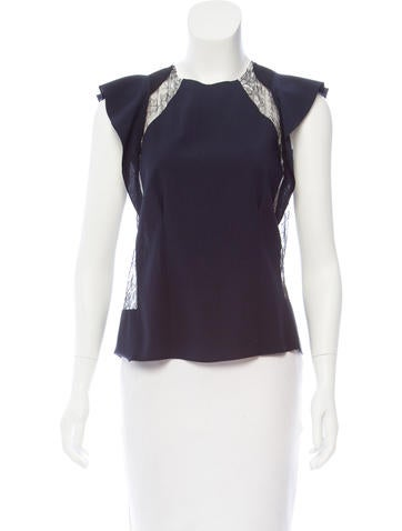 Nina Ricci Lace-Accented Wool Top None