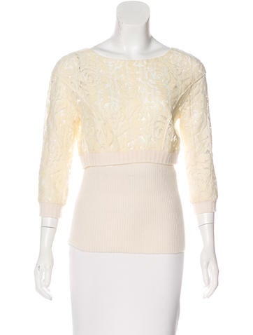 Nina Ricci Wool-Blend Knit-Trimmed Top None
