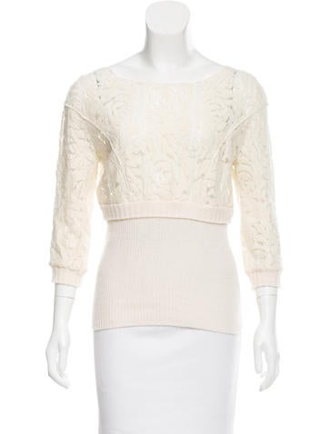Nina Ricci Lace-Trimmed Wool Top None
