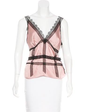 Nina Ricci Sleeveless Lace-Trimmed Top None