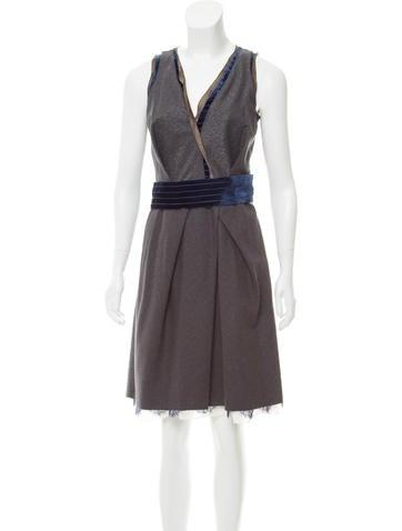 Nina Ricci Velvet-Trimmed Wool Dress None