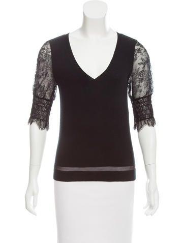 Nina Ricci Lace-Paneled Cashmere Sweater None