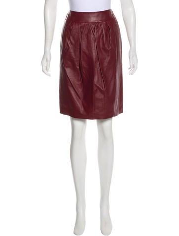Nina Ricci Leather Pencil Skirt None