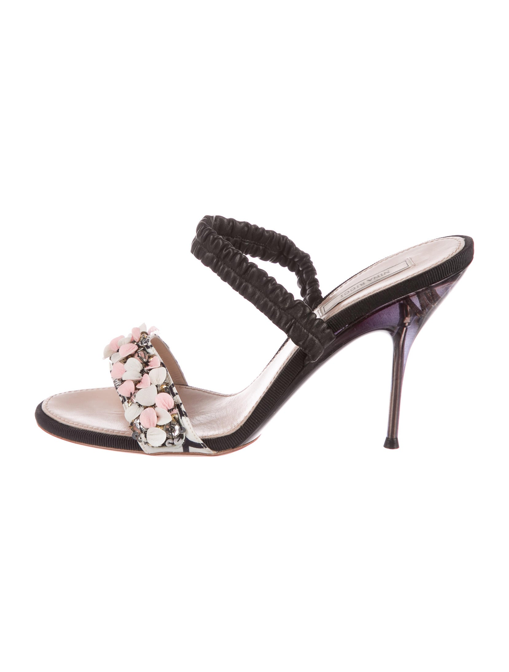 best seller for sale best place Nina Ricci Sequin-Embellished Leather Sandals free shipping extremely buy cheap really largest supplier sale online tzDqzQmH