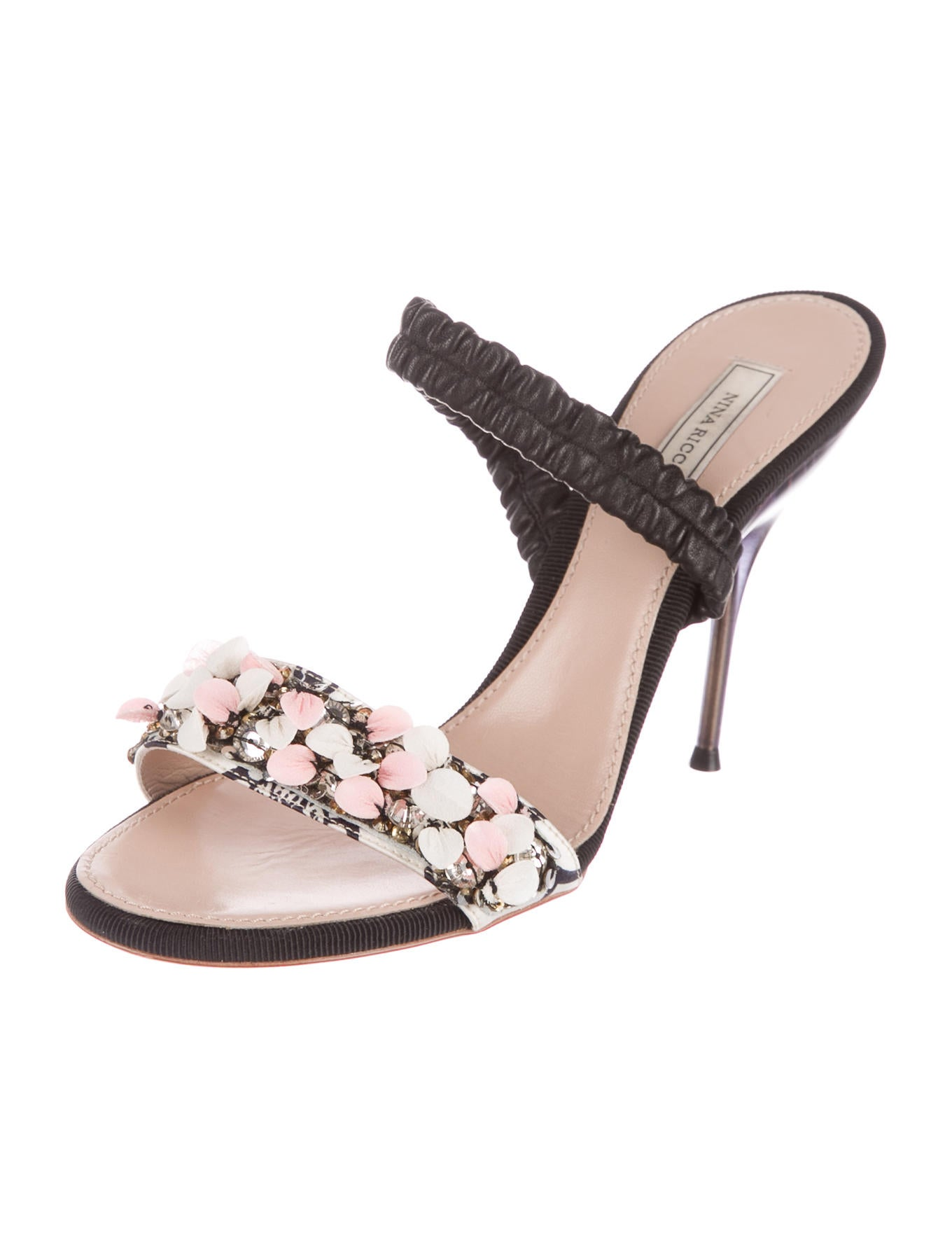 Nina Ricci Sequin-Embellished Leather Sandals free shipping genuine tYplZZ