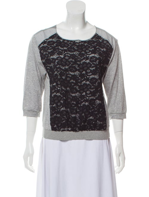 Nina Ricci Lace-Accented Knit Top Grey