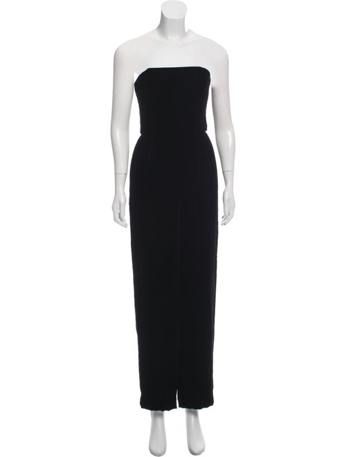Nina Ricci Strapless Velvet Jumpsuit Black